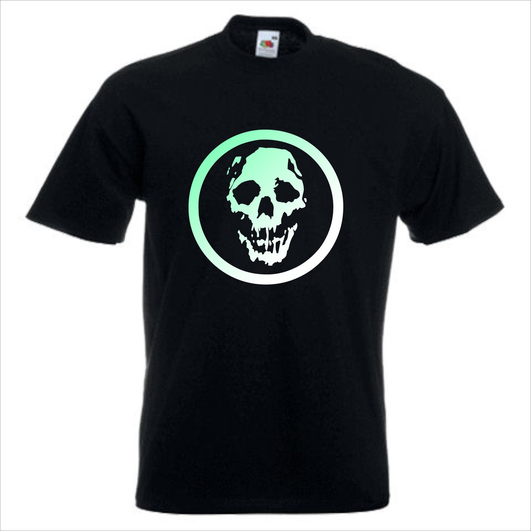 Black Tee Shirt With Green & White Logo
