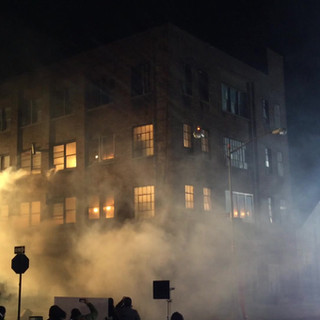 We created a building explosion in Dumbo by removing existing windows in a building.  We installed sugar glass and balsa window frames with fire boxes behind them. We worked with special effects to create a fireball and blow up fake glass windows.   The fireboxes protected the interior of the building.