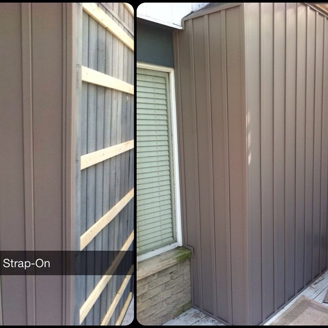 Beauty colour #Storm for this #boardandbatten #siding #work #gentek #vinyl