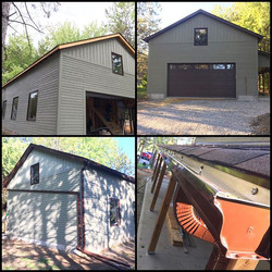 Chestnut brown #soffit #fascia #eavestrough goes great on this shop in the forest! #sutherlandsalumi