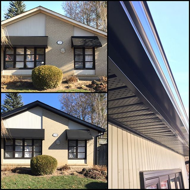 All new black #soffit, #fascia, #eavestroughing on this beauty #bungalow in Aurora #sutherlandsalumi