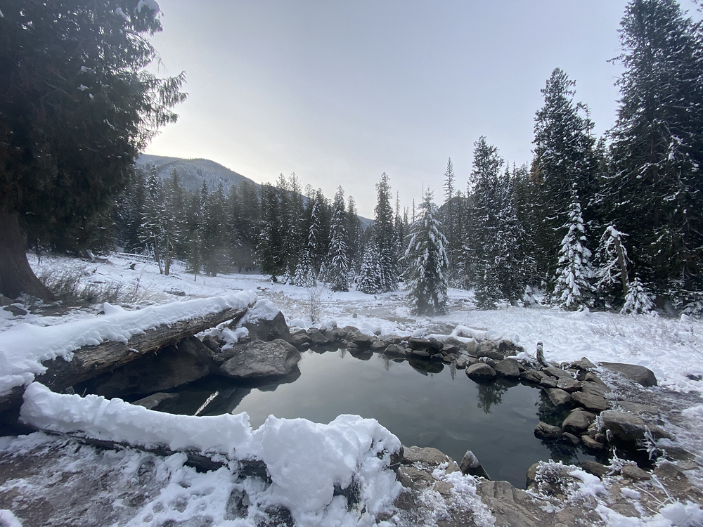 This is one of the many Hot Springs to explore in the Jerry Johnson Hot Springs area. It is absolutely breathtaking. It reminded us of an Ansel Adams photo