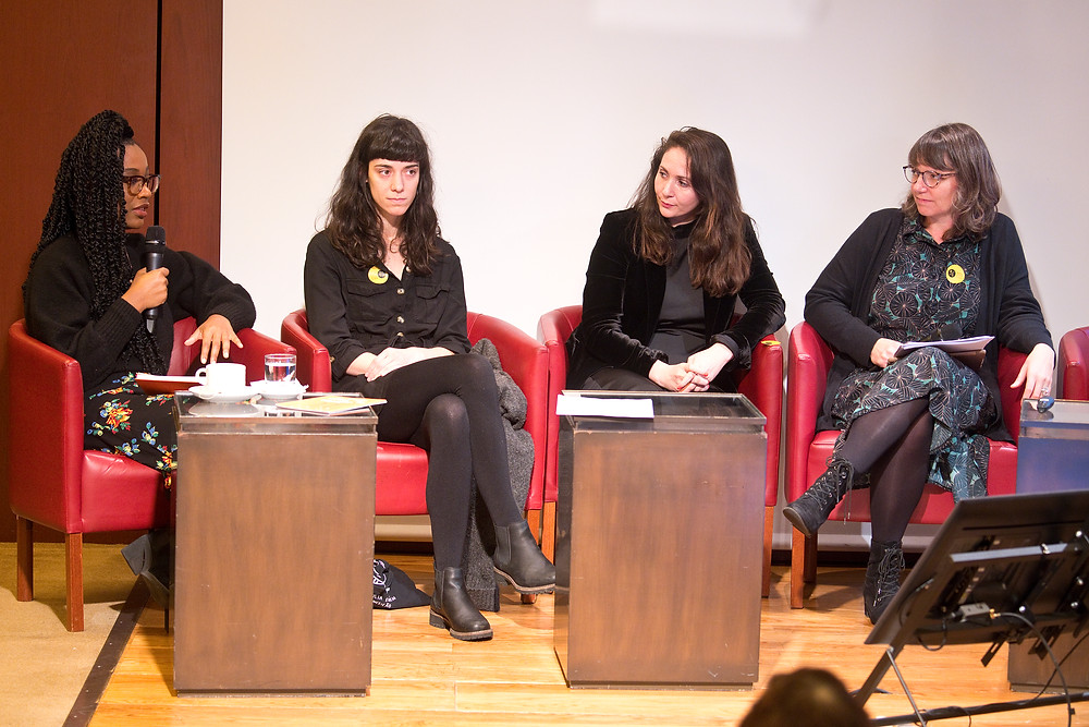 Photo of the panel discussion with panel discussion with Joana Estrela, Chafina Bendahman, Aimée Felone, and Ana Biscaia. Moderator: Noemi De Clercq.