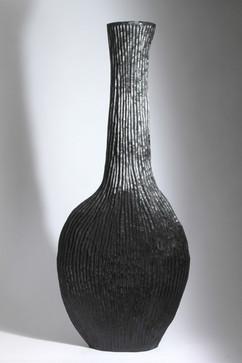 Black Ribbed Flask