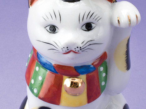 日本招猫倶楽部・復刻版「一匹三役壁掛け花瓶招き猫」