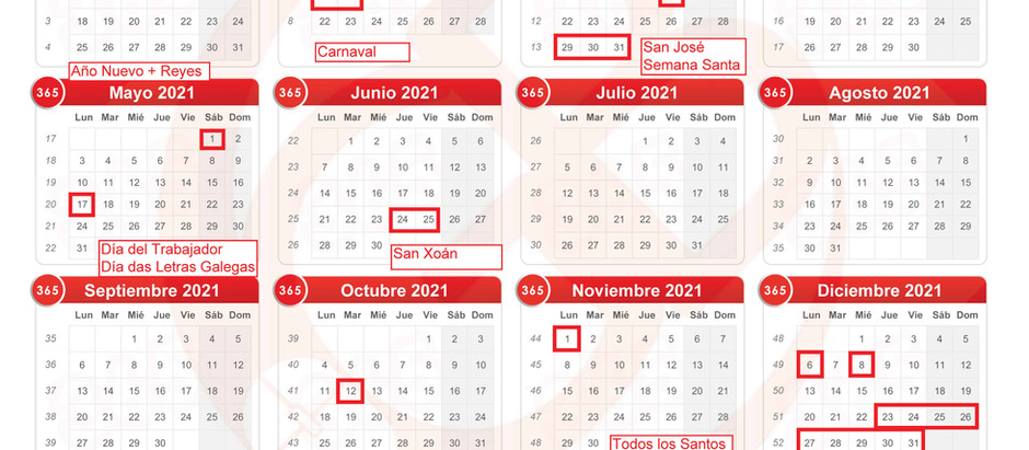 Calendario escolar de GutBer English para el año 2021