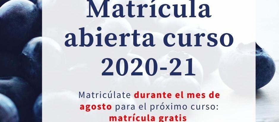 Matrícula gratis en agosto, presencial y online