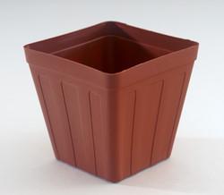 953 Brown square pot 8cm