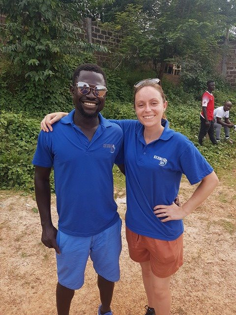 Amanda embracing her knew role as Ghana Project Manager with Dom from SVG Africa