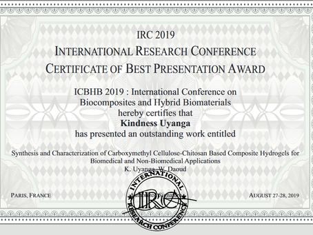 Kindness won the Best Presentation Award in IRC 2019. Congrats!