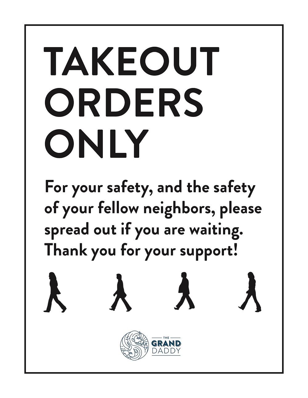 Takeout Orders Only Sign