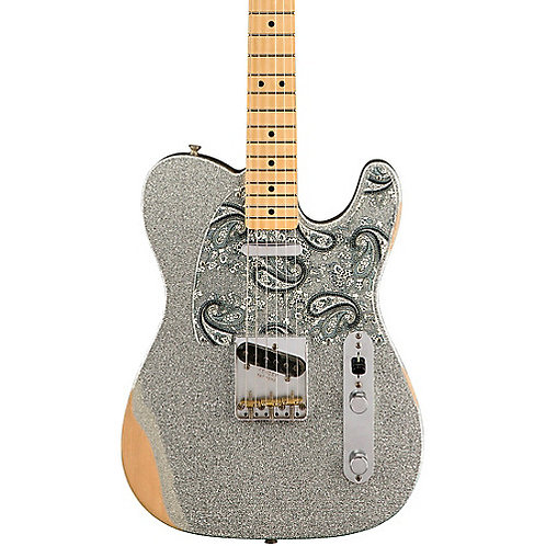Fender Brad Paisley Road Worn Telecaster Electric Guitar Silver Sparkle