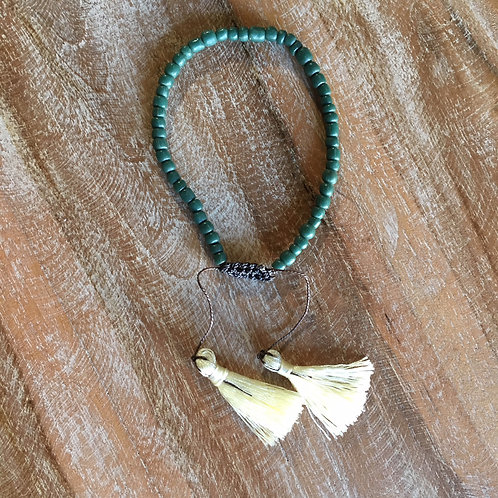 Beaded Bracelet - Green + Cream Tassel