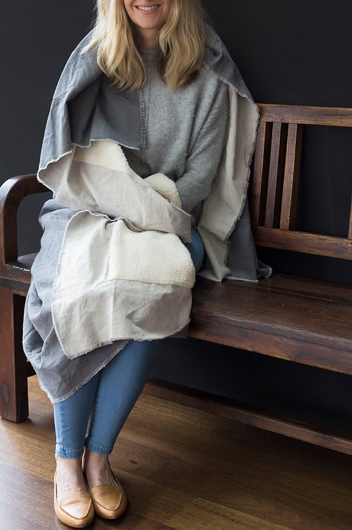 Cotton Throw - Sheepskin look -Grey