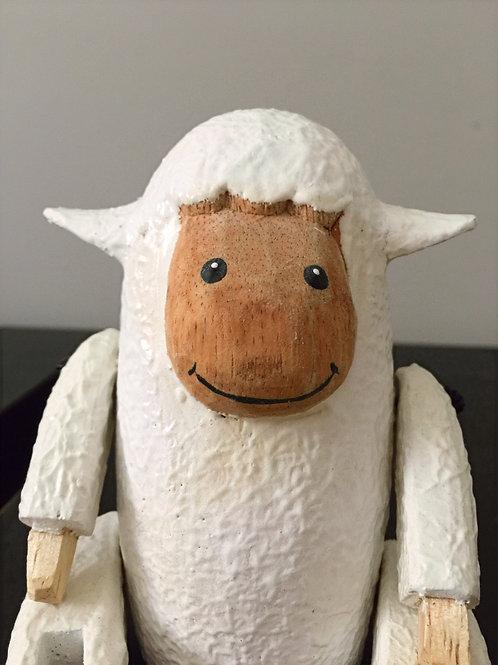 Sitting Wooden Sheep - white
