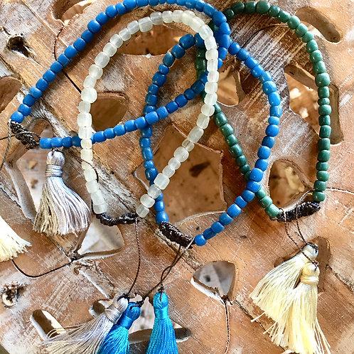 Beaded Bracelet - Blue + Blue Tassel