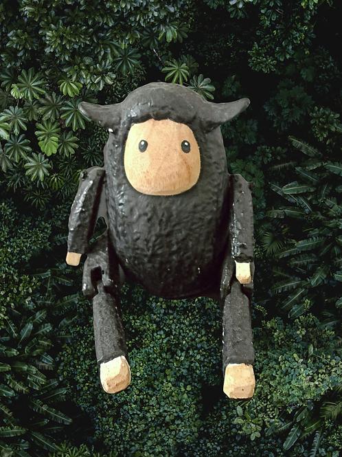 Sitting Wooden Sheep - Black