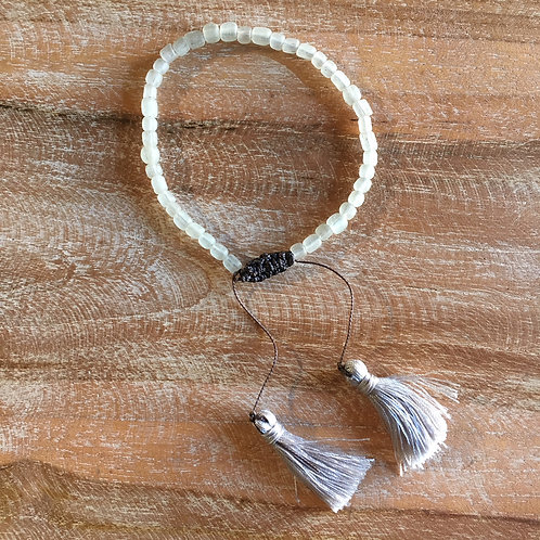 Beaded Bracelet - Grey + Grey Tassel