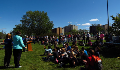 Everyone gathered for the unveiling of the Rain Garden