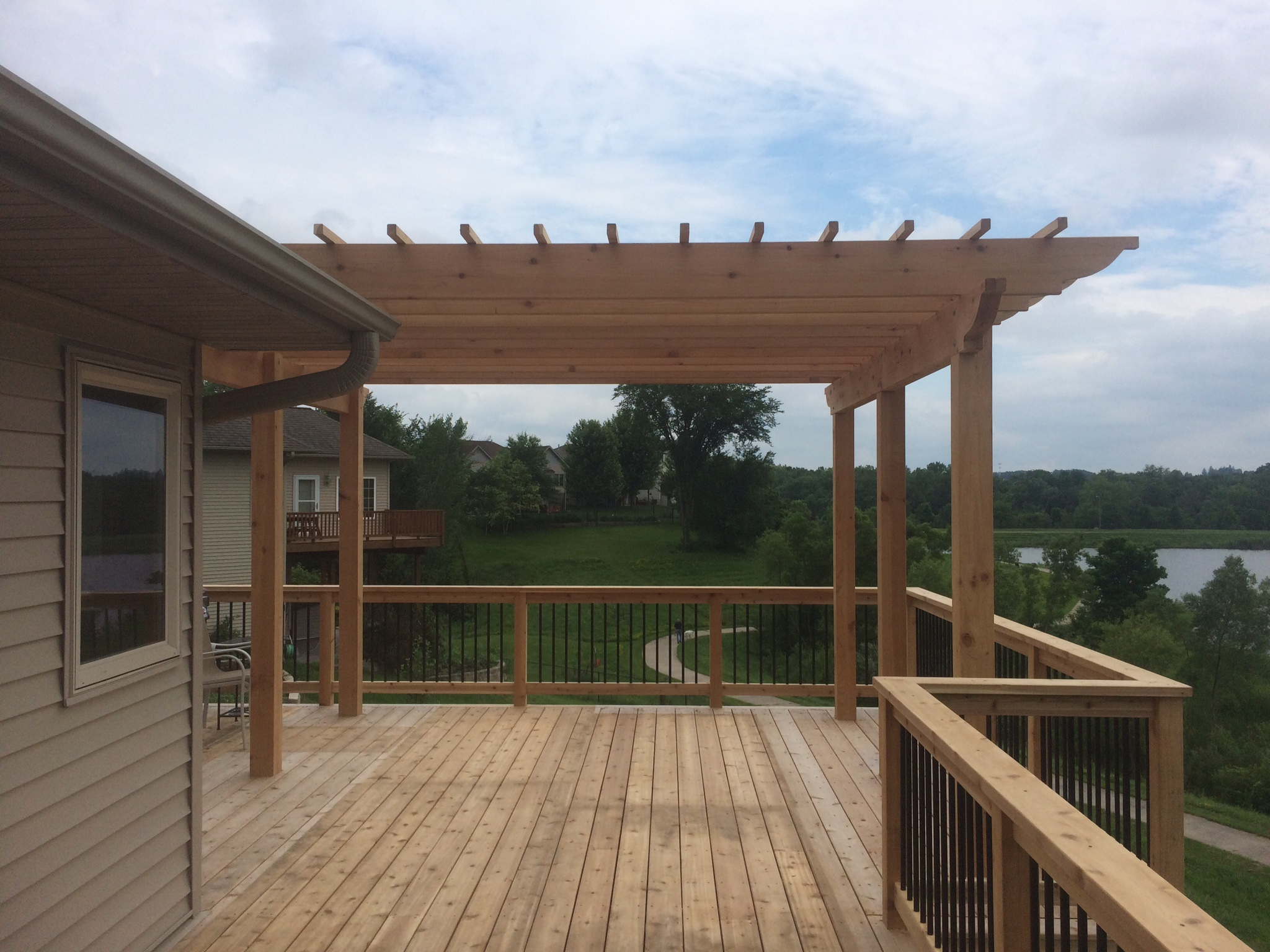 Custom deck with pergola