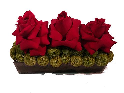 Jardineira 3 Rosas vermelhas especiais