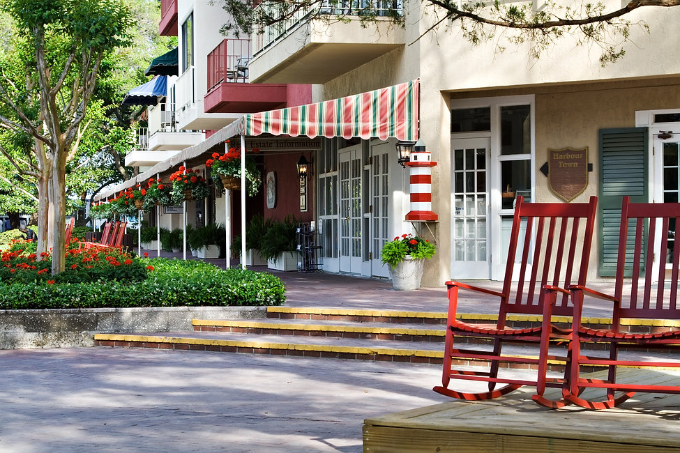 Shops along the harbor at Harbour Town,