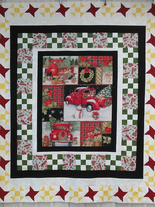 Red Truck Collage Christmas Quilt Kit