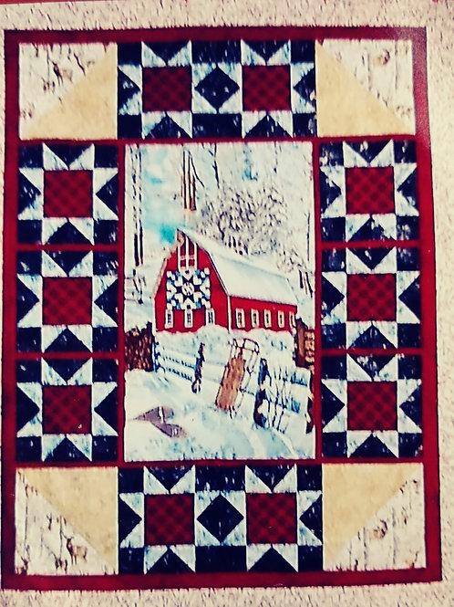 Red Barn Christmas Quilt Kit