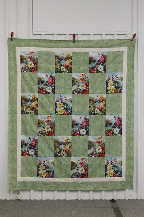 Humming Bird Floral Quick Quilt Kit