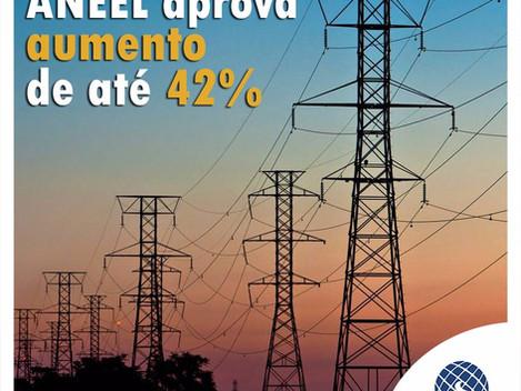 ANEEL aprova aumento de até 42% em contas de luz