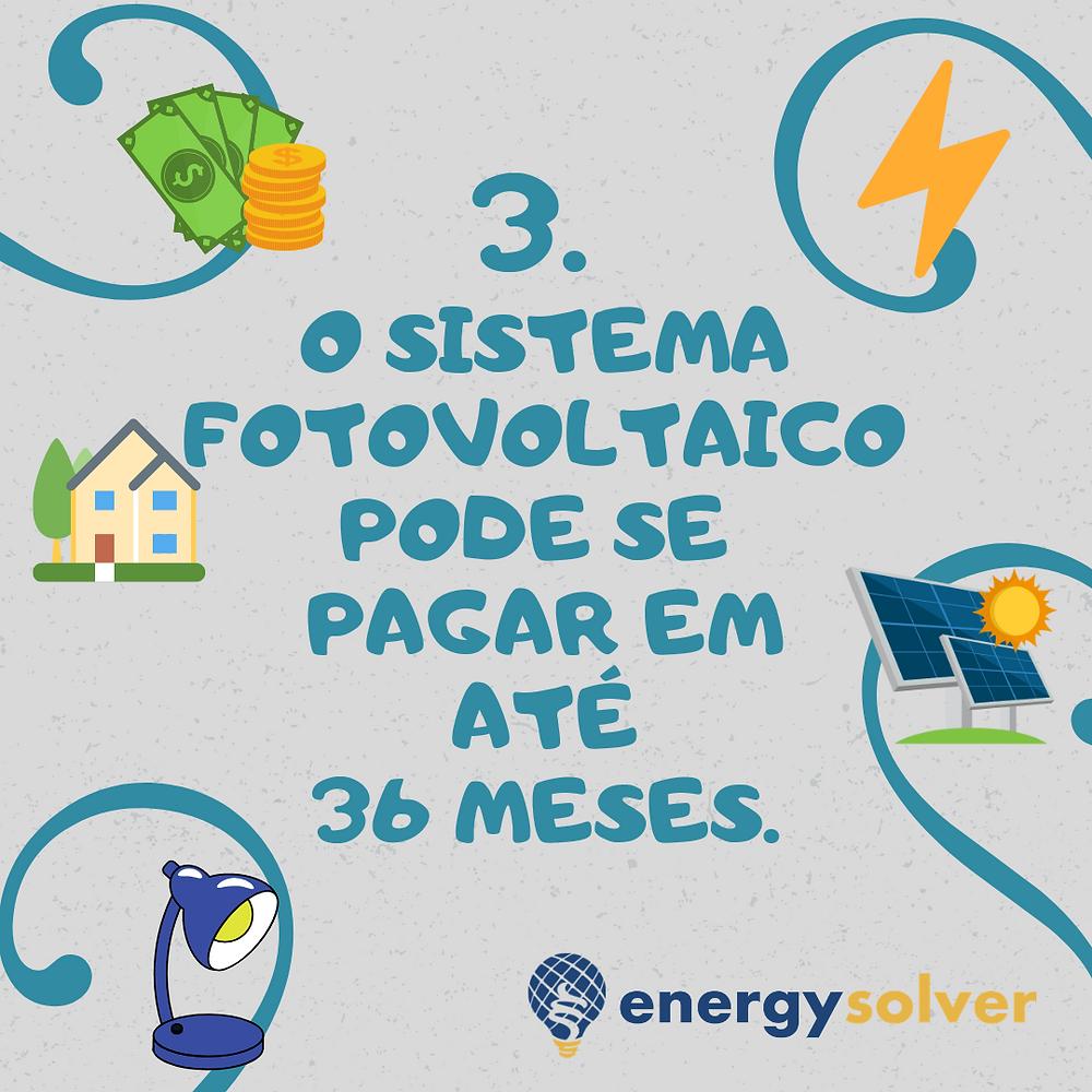 O sistema fotovoltaico pode se pagar em até 36 meses