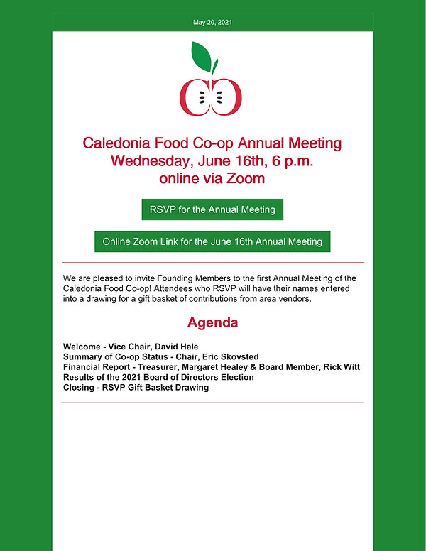 Caledonia Food Co-op Annual Meeting Mast