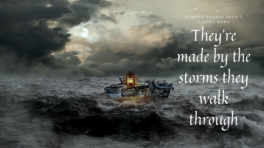 A ship caught in a storm.