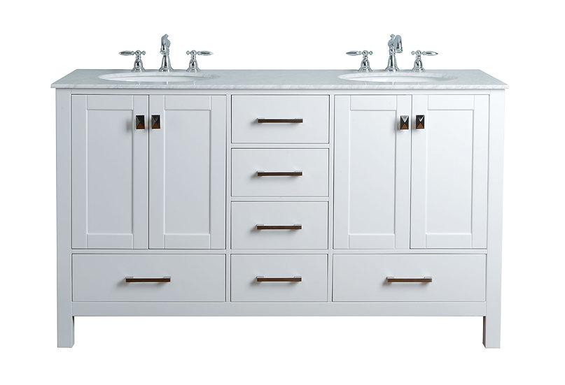 """60"""" Malibu Pure White Double Sink Vanity"""