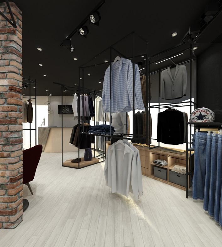 дизайн современного магазина мужской одежды