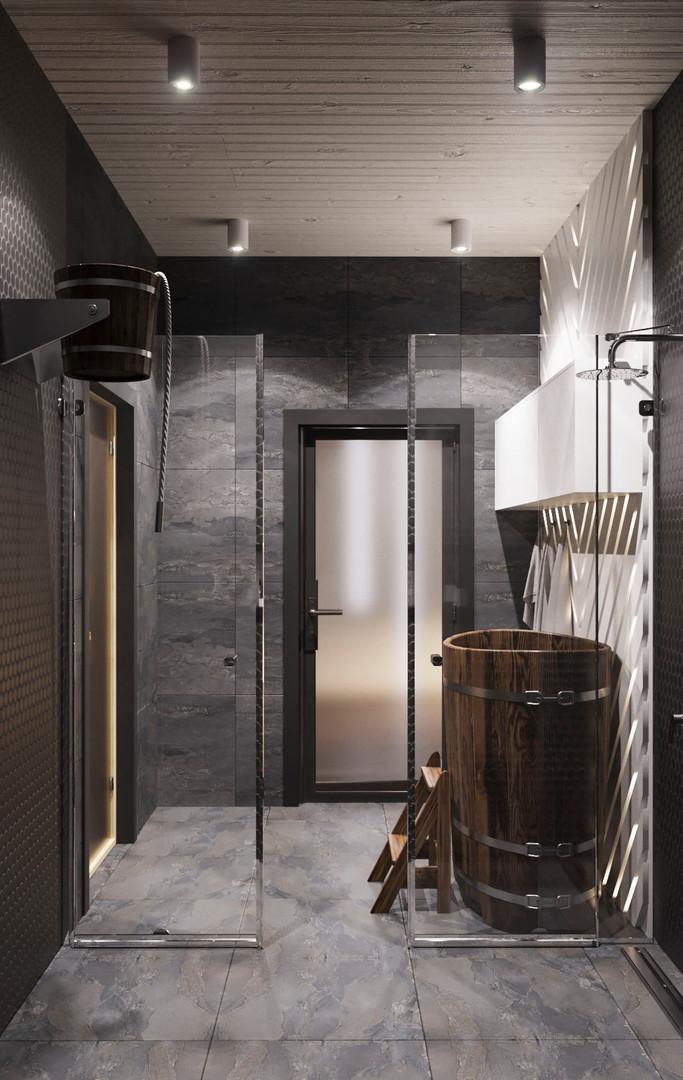душевая в бане дизайн проект
