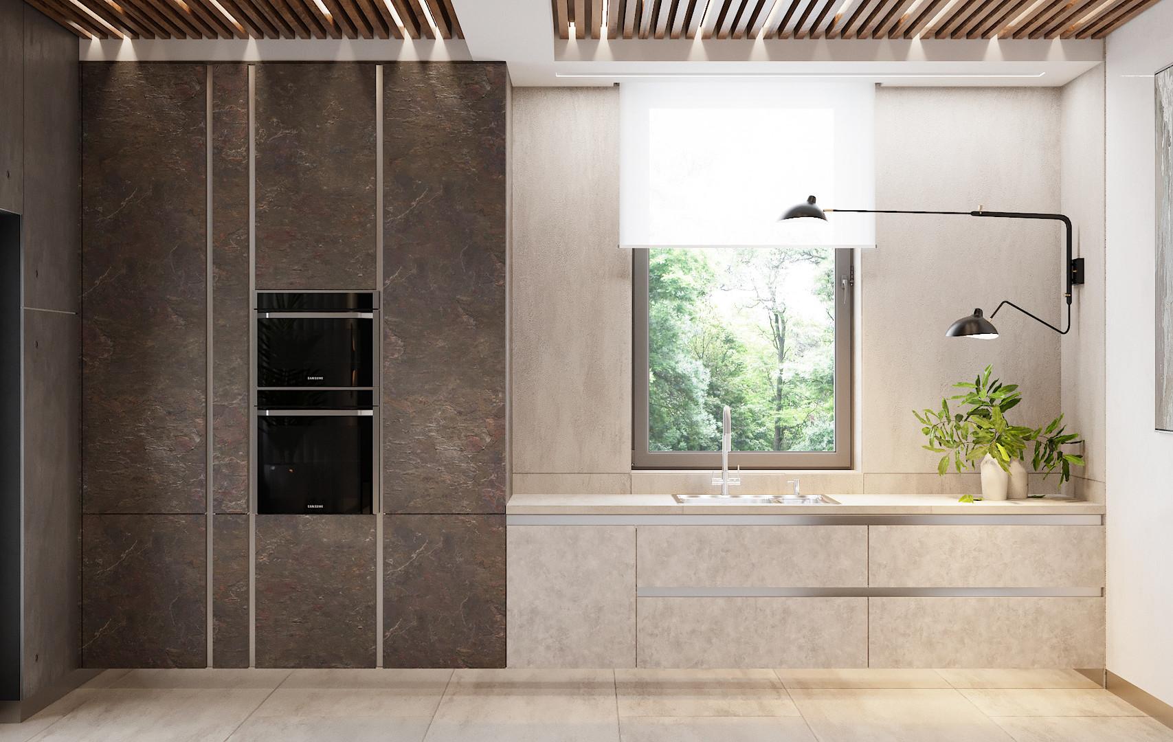 фасады под бетон на кухни