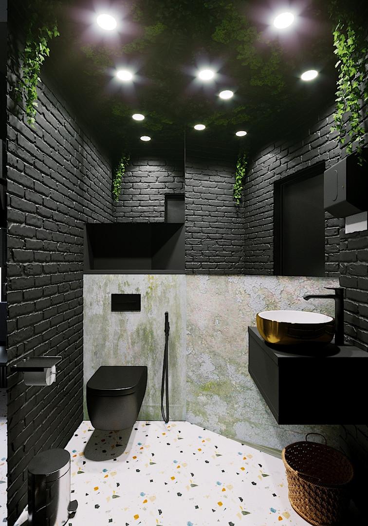 черный санузел дизайн