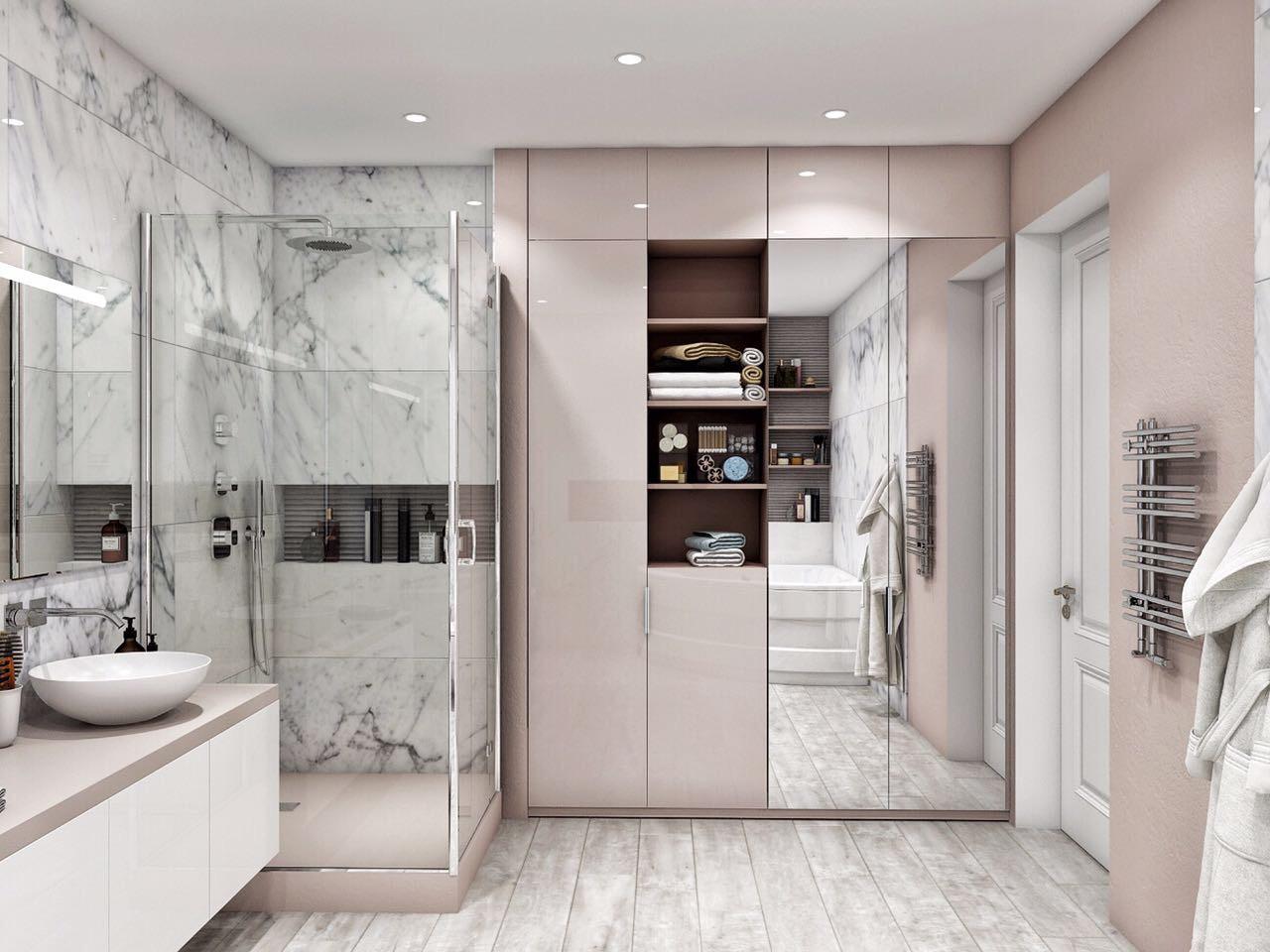 дишевая в ванной комнате