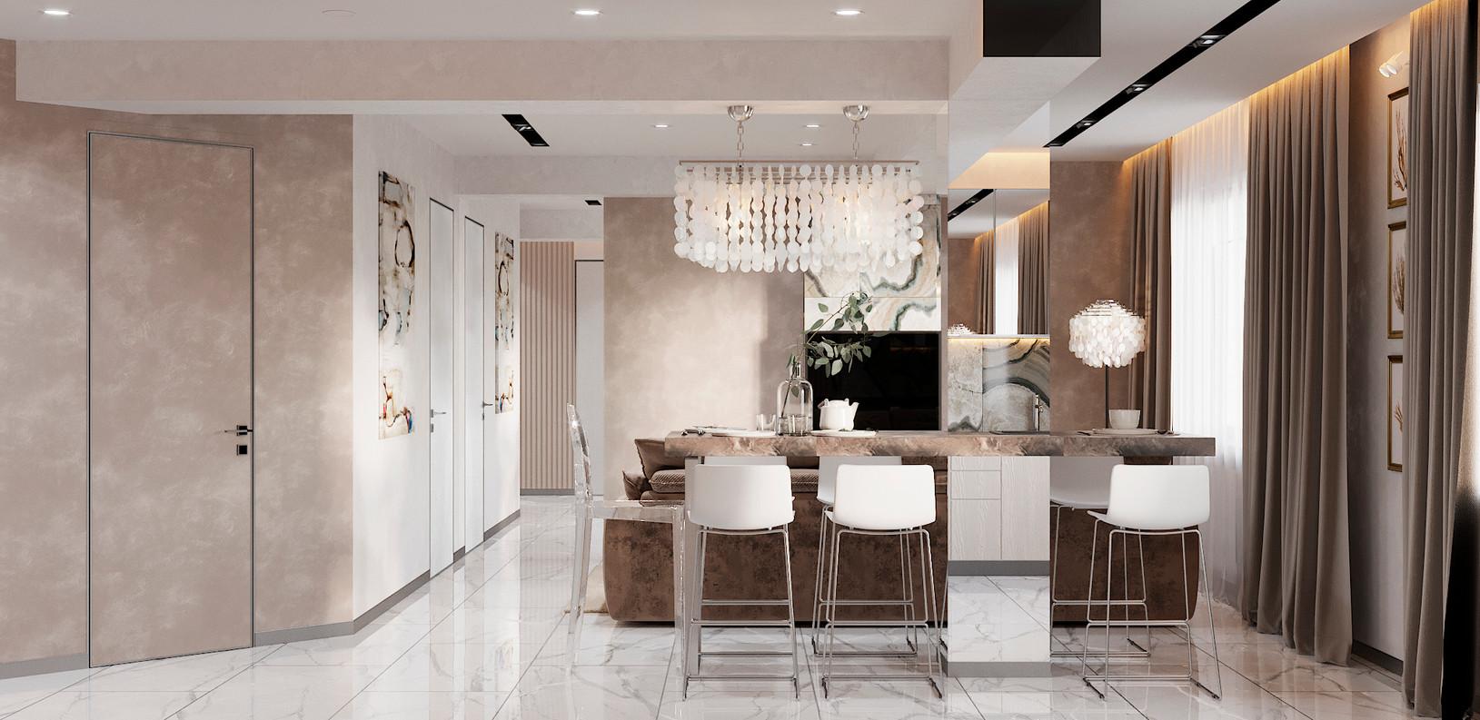 пудровая гостная дизайн