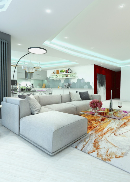 белая цветовая гамма угловой диван