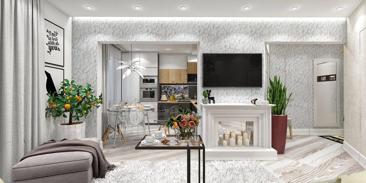 дизайн-проект кухни гостиной