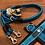 Thumbnail: Halsband + Leine Set in petrol-schwarz