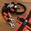 Thumbnail: Halsband + Leine Set in schwarz-rot