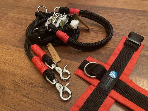 Halsband + Leine Set in schwarz-rot