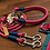 Thumbnail: Halsband + Leine Set in pink-petrol