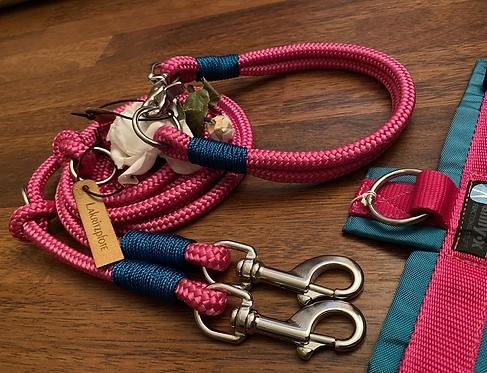 Halsband + Leine Set in pink-petrol