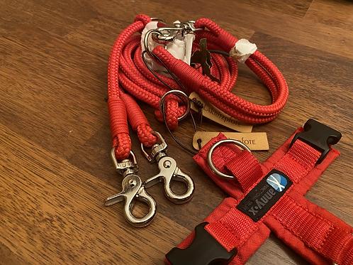 Halsband + Leine Set in rot-rot