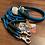 Thumbnail: Halsband + Leine Set in petrol-dunkelgrün