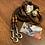 Thumbnail: Tau-Leder Halsband + Leine Set in braun-bernstein